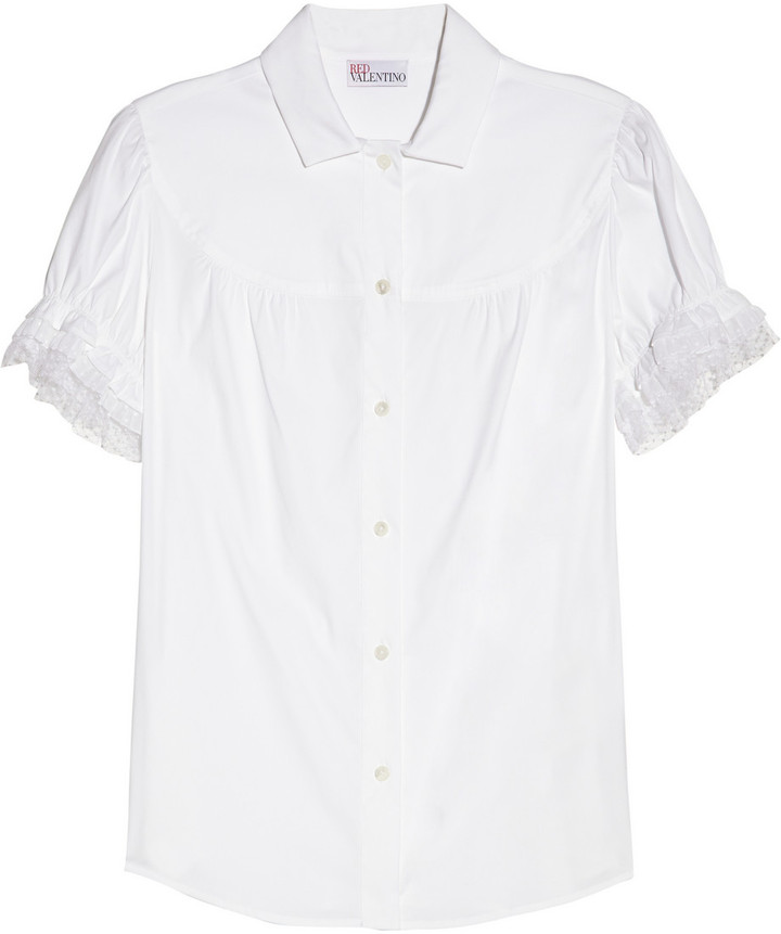 RED Valentino Stretch cotton-blend blouse