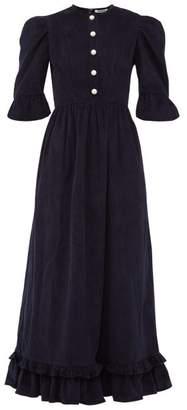 Batsheva Puff Sleeve Cotton Corduroy Dress - Womens - Navy