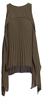 Halston Women's Pleated Georgette Top