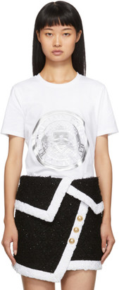 Balmain White Coin T-Shirt