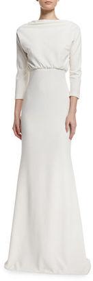 Badgley Mischka 3/4-Sleeve Blouson Jersey Gown $550 thestylecure.com