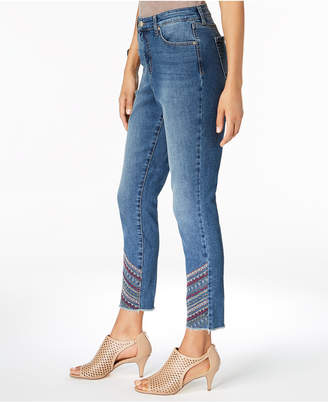 Style&Co. Style & Co Embroidered Curvy Skinny Jeans, Created for Macy's