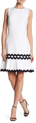 Nina Leonard Sleeveless Contrast Hem Dress