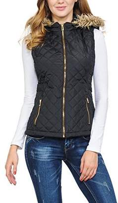 Auliné Collection Womens Quilted Zip up Lightweight Padding Vest Fur Hood ZP Black S