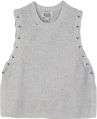 Autumn Cashmere Knit Woven Grommet Sleeveless Top, Size 8-14
