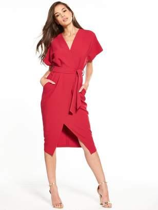 Closet Wrap Tie Waist Dress