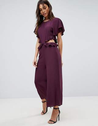 Asos DESIGN Tea Jumpsuit with Ruffles and Cut Out