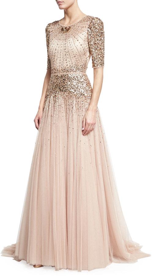 Jenny Packham Beaded Short-Sleeve Tulle Gown 2