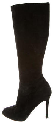 Christian Louboutin Suede Knee-High Boots $590 thestylecure.com