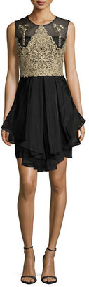 Notte by Marchesa Sleeveless Embroidered Bodice Ruffled Cocktail Dress $795 thestylecure.com