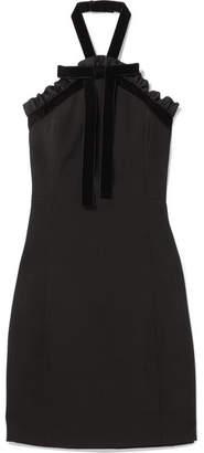 MICHAEL Michael Kors - Ruffled Velvet-trimmed Crepe Halterneck Mini Dress - Black
