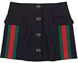 Gucci Kids' Stripe-Appliquéd Wool-Cashmere Skirt - Navy