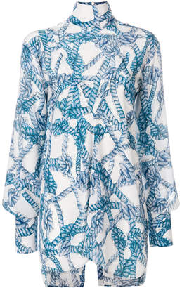 Rokh rope print high neck shirt
