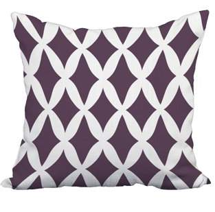Simply Daisy 22 x 22 Inch Purple Trellis Print Decorative Polyester Throw Pillow with a Linen Texture