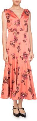 Erdem Honora V-Neck Sleeveless Pine Floral-Embroidered A-Line Ankle Dress