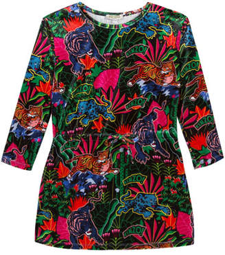 Kenzo Jungle-Print Long-Sleeve Velour Dress, Size 4-6