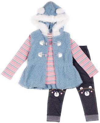 Little Lass Baby Girl Vest, Top & Leggings Set