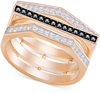 Swarovski Rose Gold-Tone Clear & Black Pave Ring