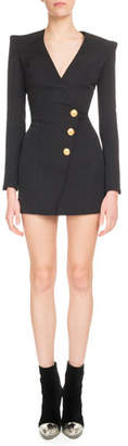 Balmain Long-Sleeve V-Neck Three-Button Side-Waist Cocktail Dress