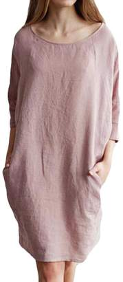 BU2HWomen BU2H Womens Casual Solid Color 3/4 Sleeve Linen Cotton Tunic Dress US L