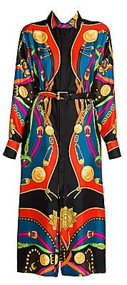 Versace Women's Rodeo Night Silk Twill Belted Shirtdress