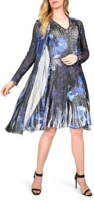 Komarov Floral Tiered Chiffon Dress with Long Sleeve Jacket