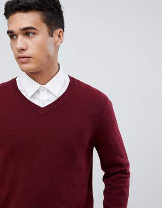 Asos DESIGN lambswool v-neck sweater in burgundy