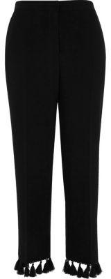 River IslandRiver Island Womens Black tassel hem cropped trousers