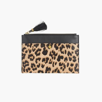 J.Crew Medium pouch in calf hair and leather