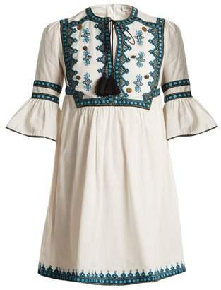 Talitha - Gathered Waist Embroidered Cotton Dress - Womens - White Multi