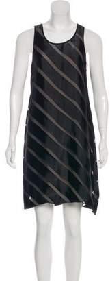 L'Agence Striped Sheer Dress