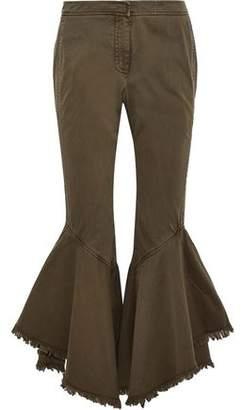 Cinq à Sept Wysteria Frayed Cotton-Twill Kick-Flare Pants