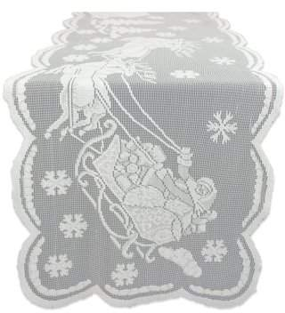 "Design Imports Snow Village Lace Tablerunner - White - 14 X 72"""