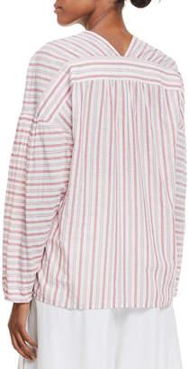 Vince Variegated Stripe Long-Sleeve Pullover Top