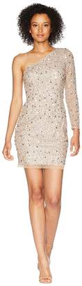 Adrianna Papell One Shoulder Fully Beaded Cocktail Dress Women's Dress