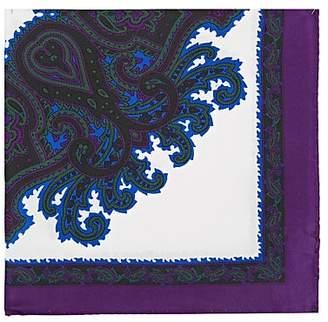 Barneys New York Men's Medallion Silk Twill Pocket Square - Purple