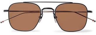 Thom Browne Square-Frame Matte-Black Metal Sunglasses