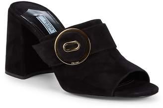 Prada Women's Button Suede Block Heel Mules