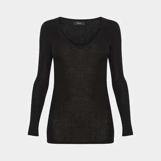 Theory Cotton-Cashmere Long-Sleeve Scoop Tee