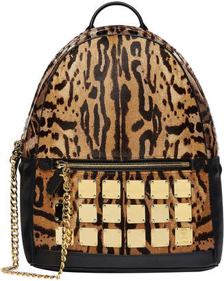 MCM Men's Stark Brass Plate Leopard Medium Backpack