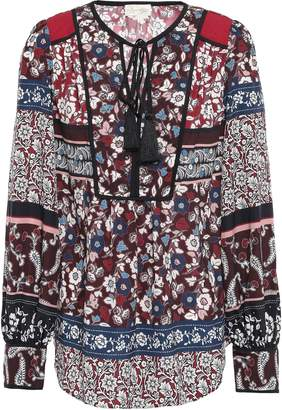 Kate Spade Embellished Printed Crepe De Chine Blouse