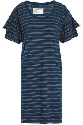 Current/Elliott Tiered Striped Cotton-Blend Jersey Mini Dress