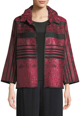 Caroline Rose Sheer Striped Ruched-Collar Jacket