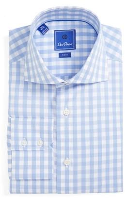 Men's David Donahue Trim Fit Check Dress Shirt $185 thestylecure.com