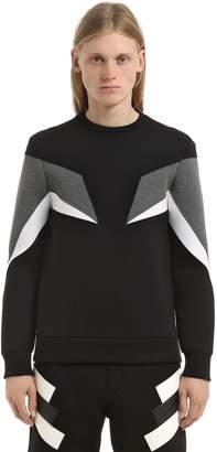Neil Barrett Neoprene Zip Intarsia Sweatshirt