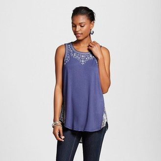 Knox Rose Women's Knit to Woven Tank with Print Back $19.99 thestylecure.com