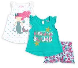 Nannette Baby Girl's Three-Piece Mermaid Tank & Shorts Set