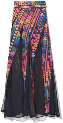 Sacai Floral Stripe Embroidery Skirt in Black/Navy