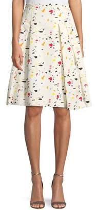 Carolina Herrera Terrazzo-Print A-Line Cotton Faille Party Skirt
