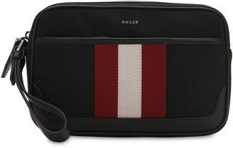 Bally Logo Stripe Tech Canvas Toiletry Bag
